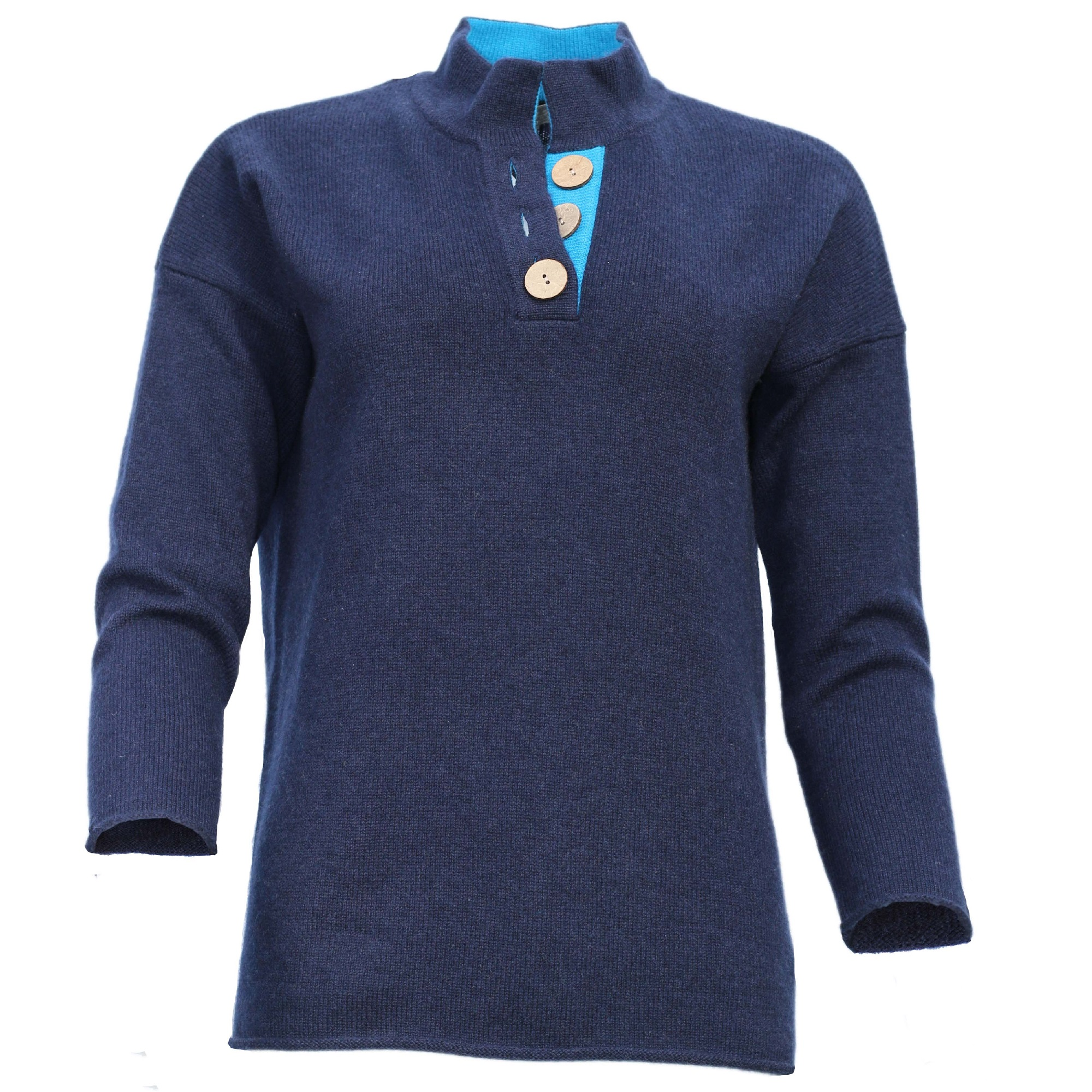 High Collar Jumper – Navy/Turquoise