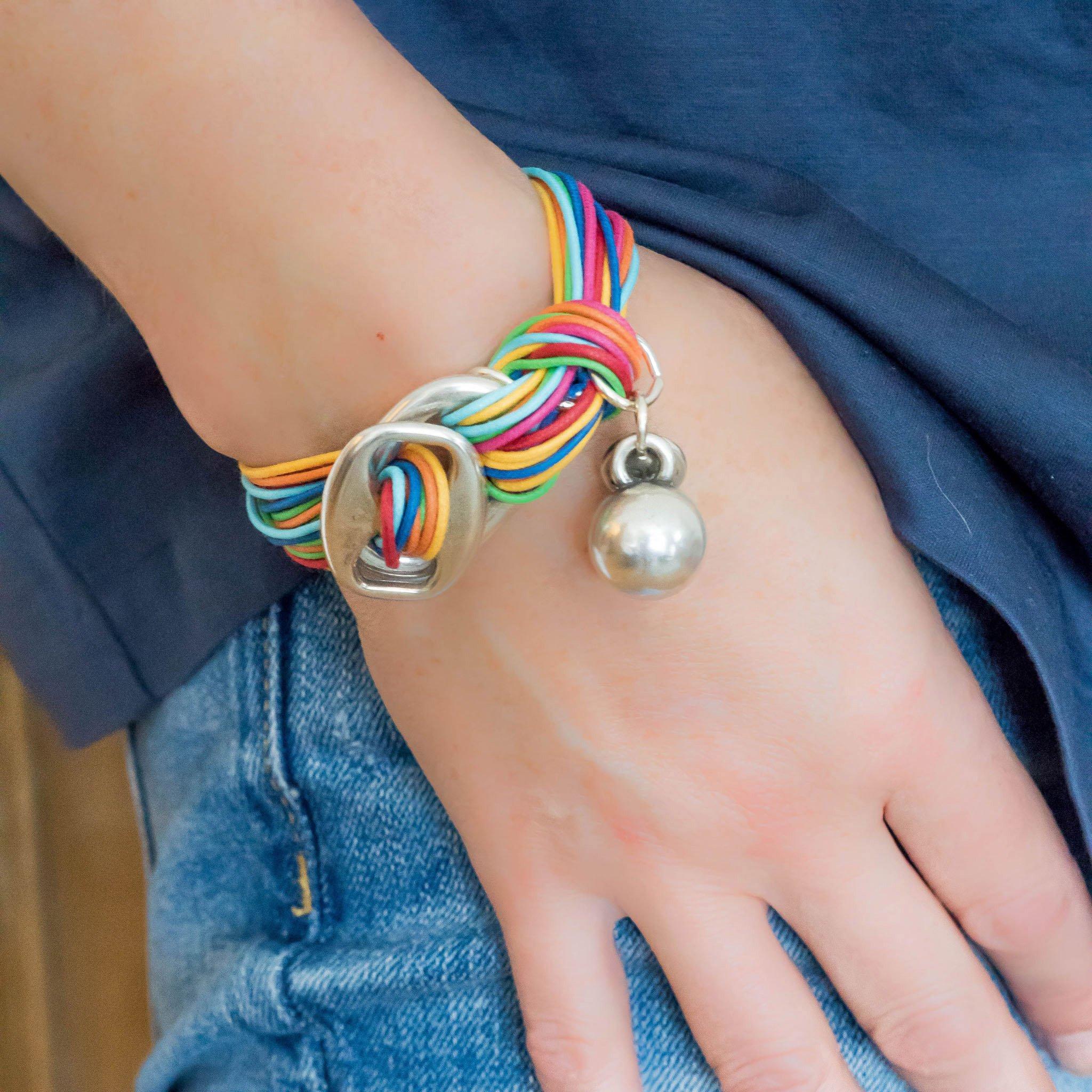 Multicoloured ball charm bracelet