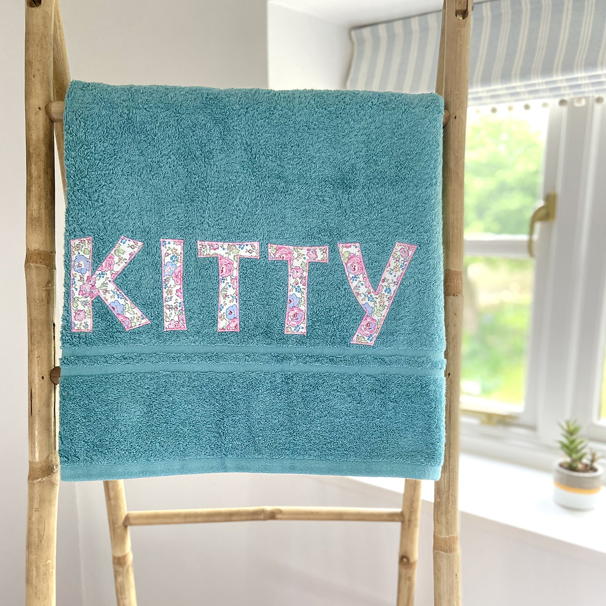 Pretty Green Towels with Liberty Print Letters