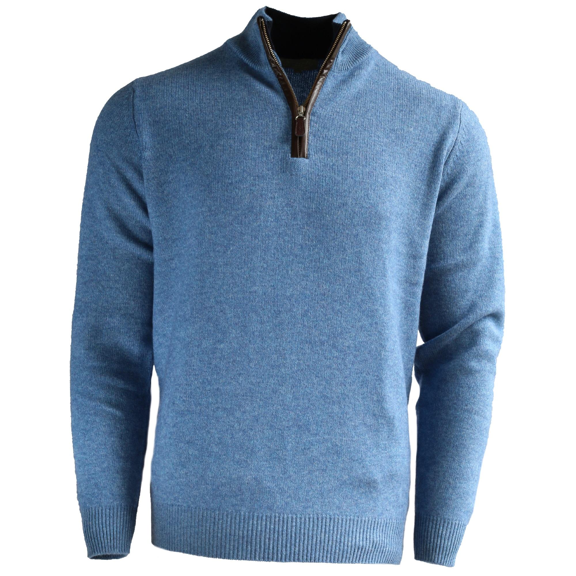 Men's Zip Neck Jumper – Marine Blue