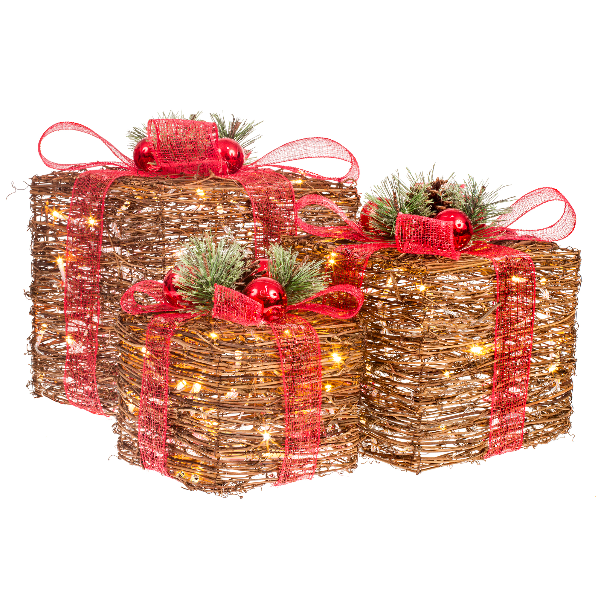 Rattan Collection – Set 3 LED Gift Boxes