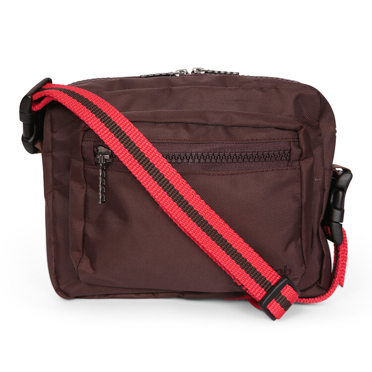 Crossbody dog walking bag – BROWN with red strap