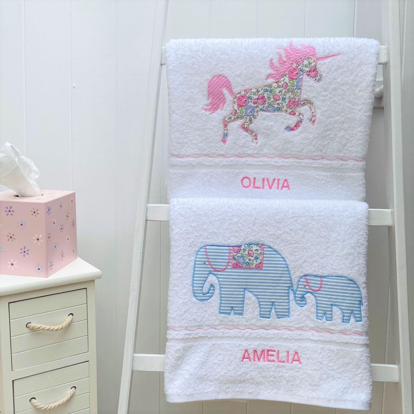 Personalised White Bath Towels