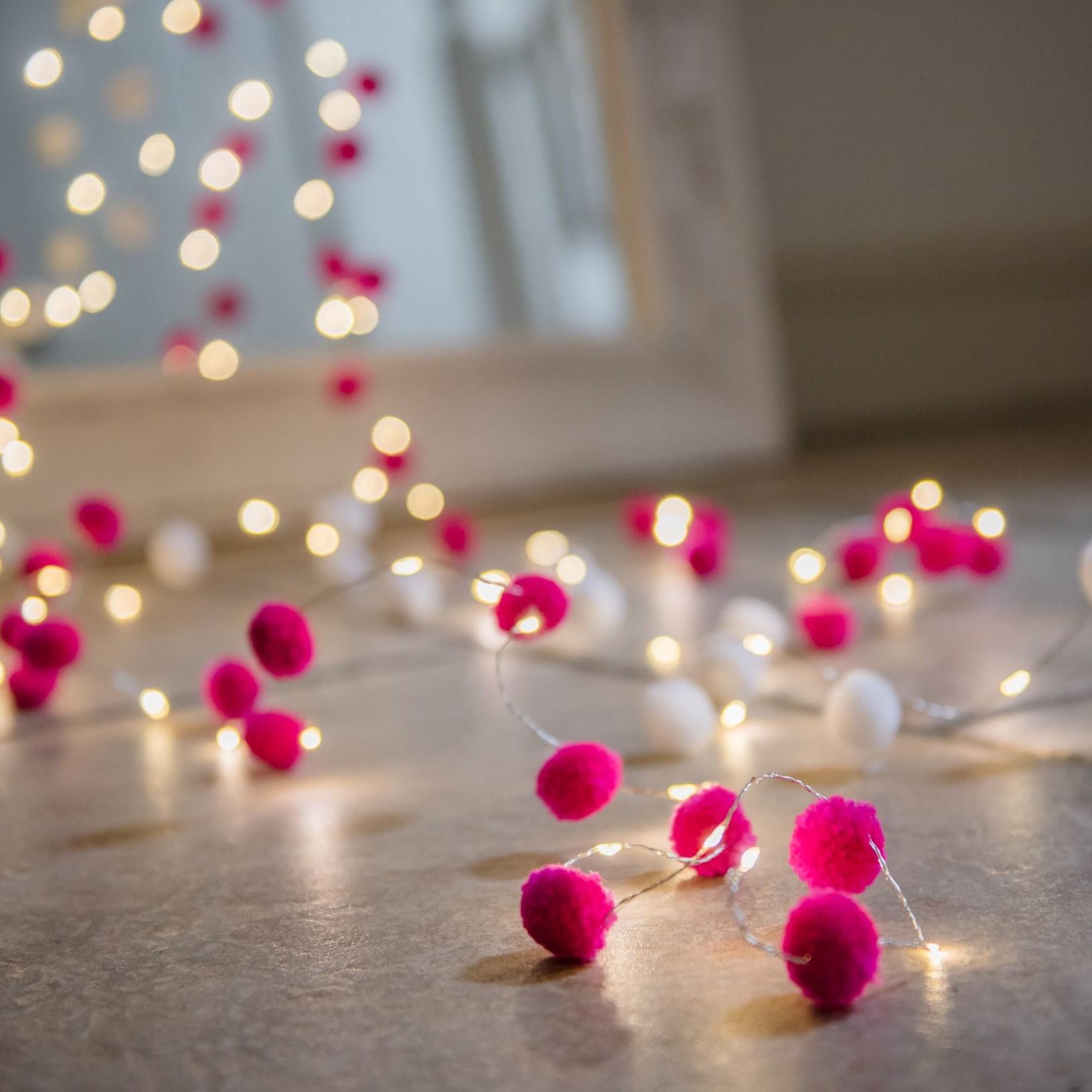 Pom Pom Pink Galaxy Fairy Lights