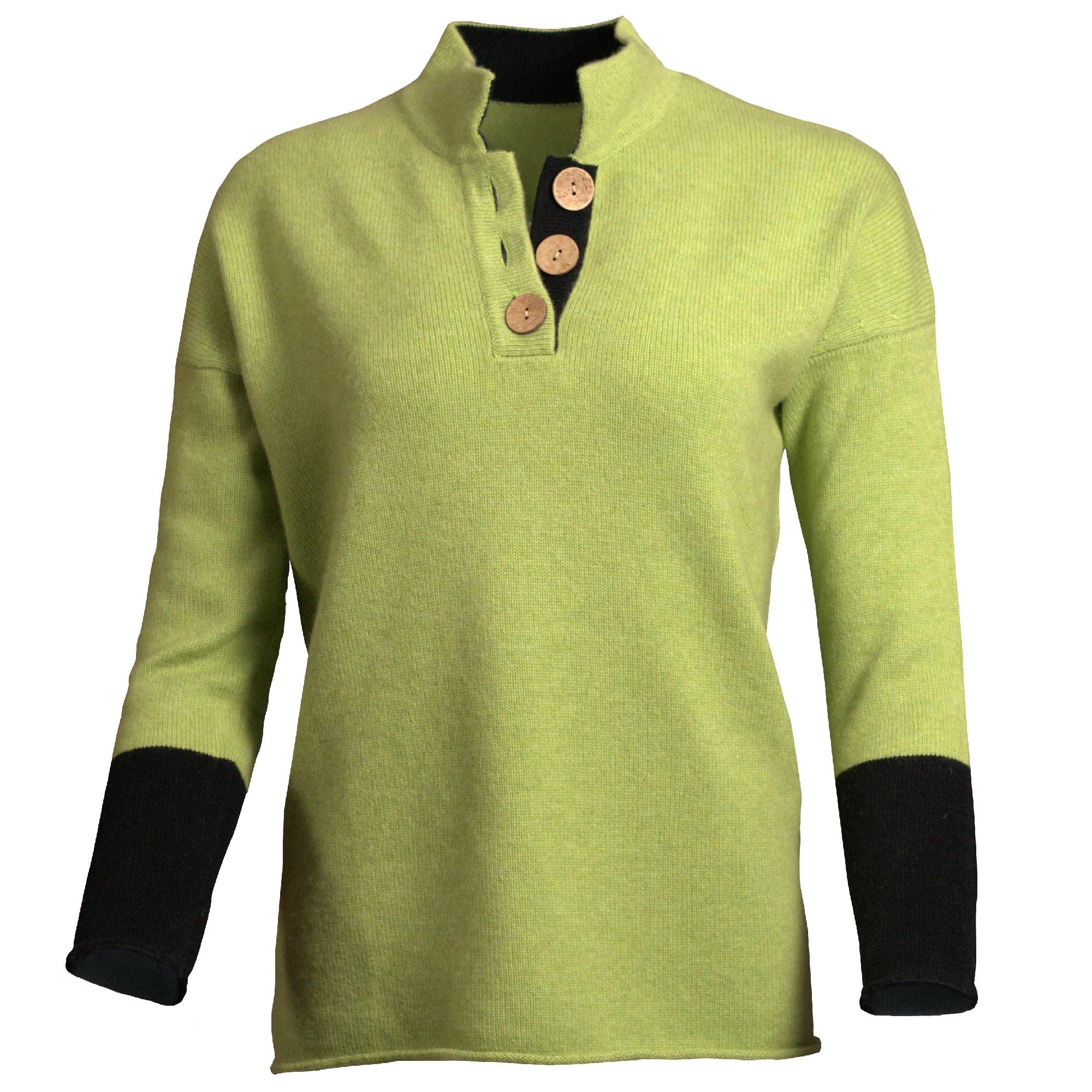 High Collar Jumper – Lime Green/Black
