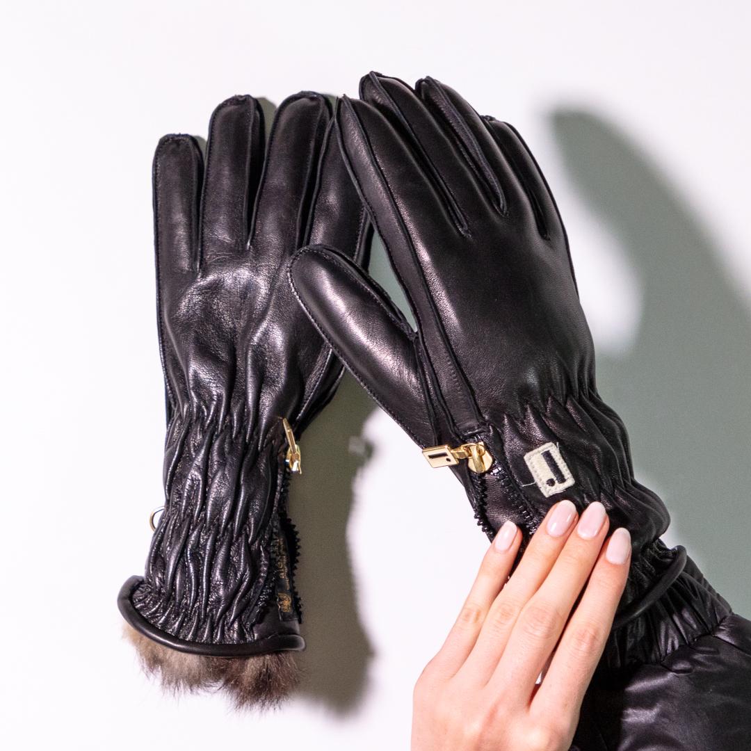 Ladies Black Leather Ski Glove