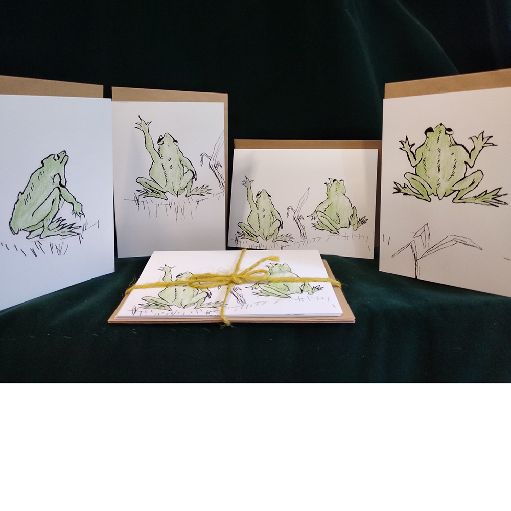 Pack of four cards Frogs Reach for the Sky