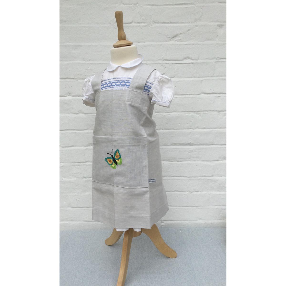 Children's Embroidered Linen Apron