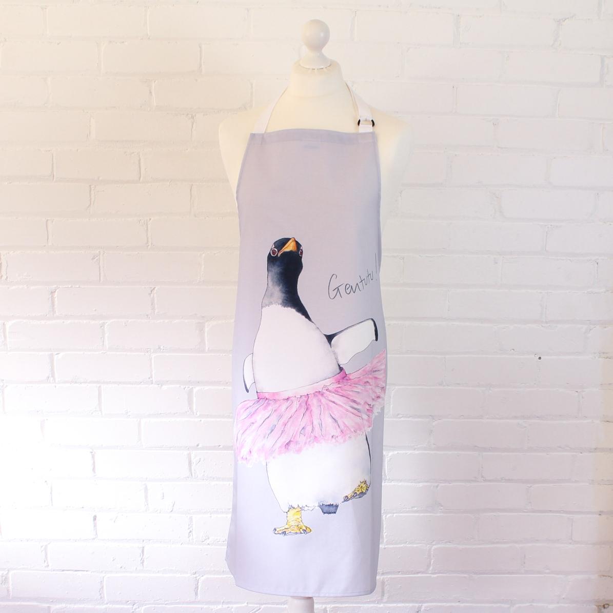 Dancing penguin in a tutu apron