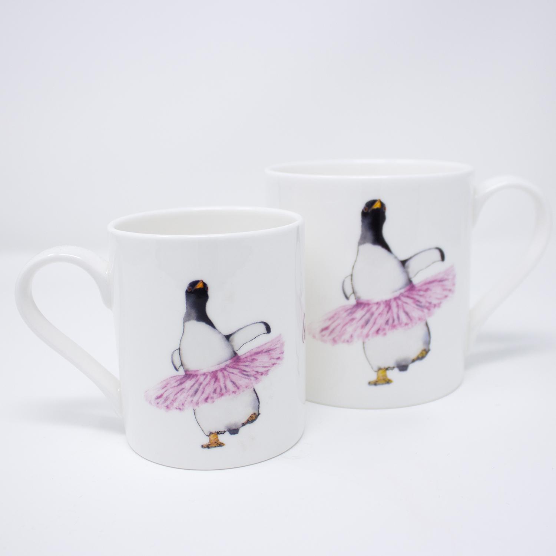 Dancing penguin in a tutu mug