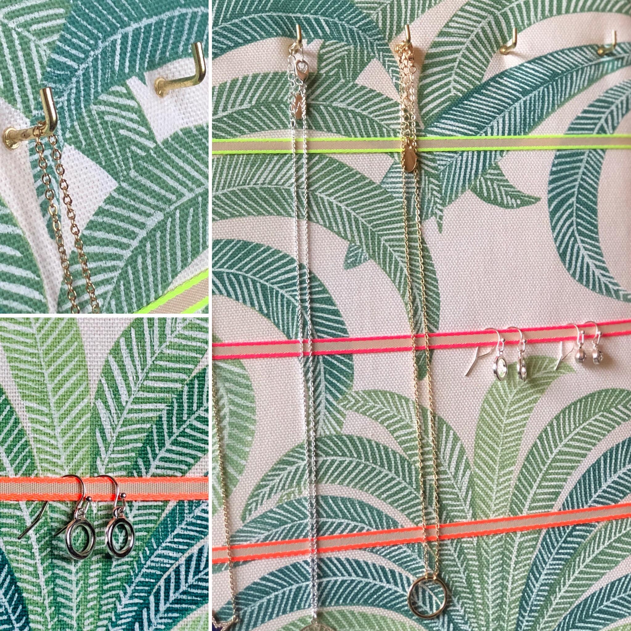 Hook & Hang Jewellery Board – Palm Tree / Neon Ribbon