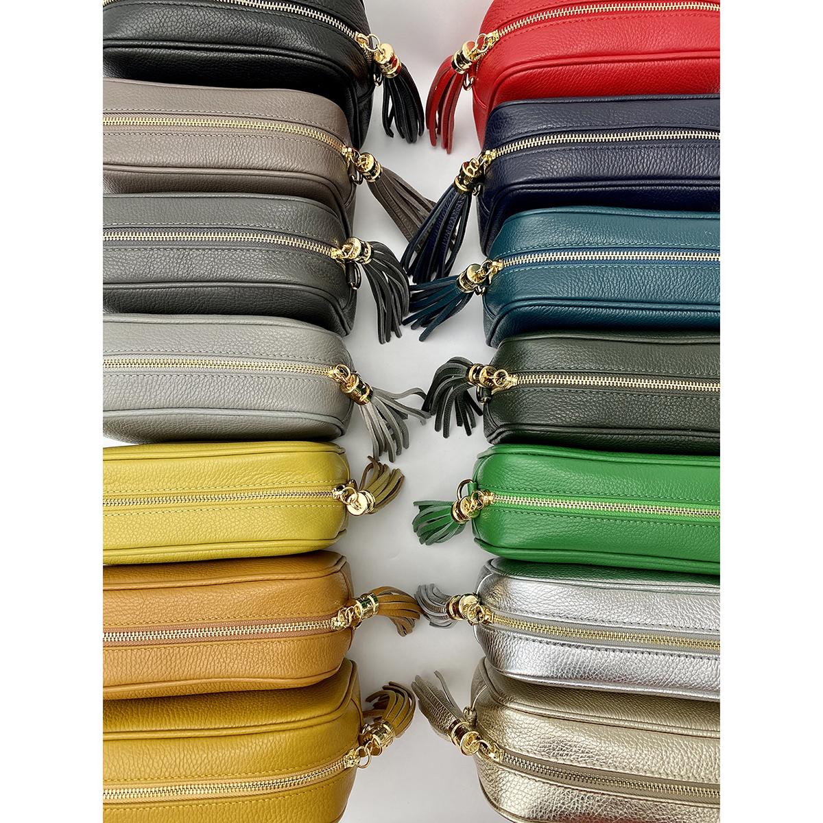 Italian Leather Box Bag with Tassel