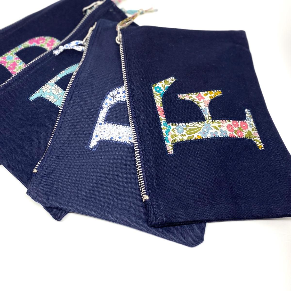 Liberty Personalised Zip Blue Bag