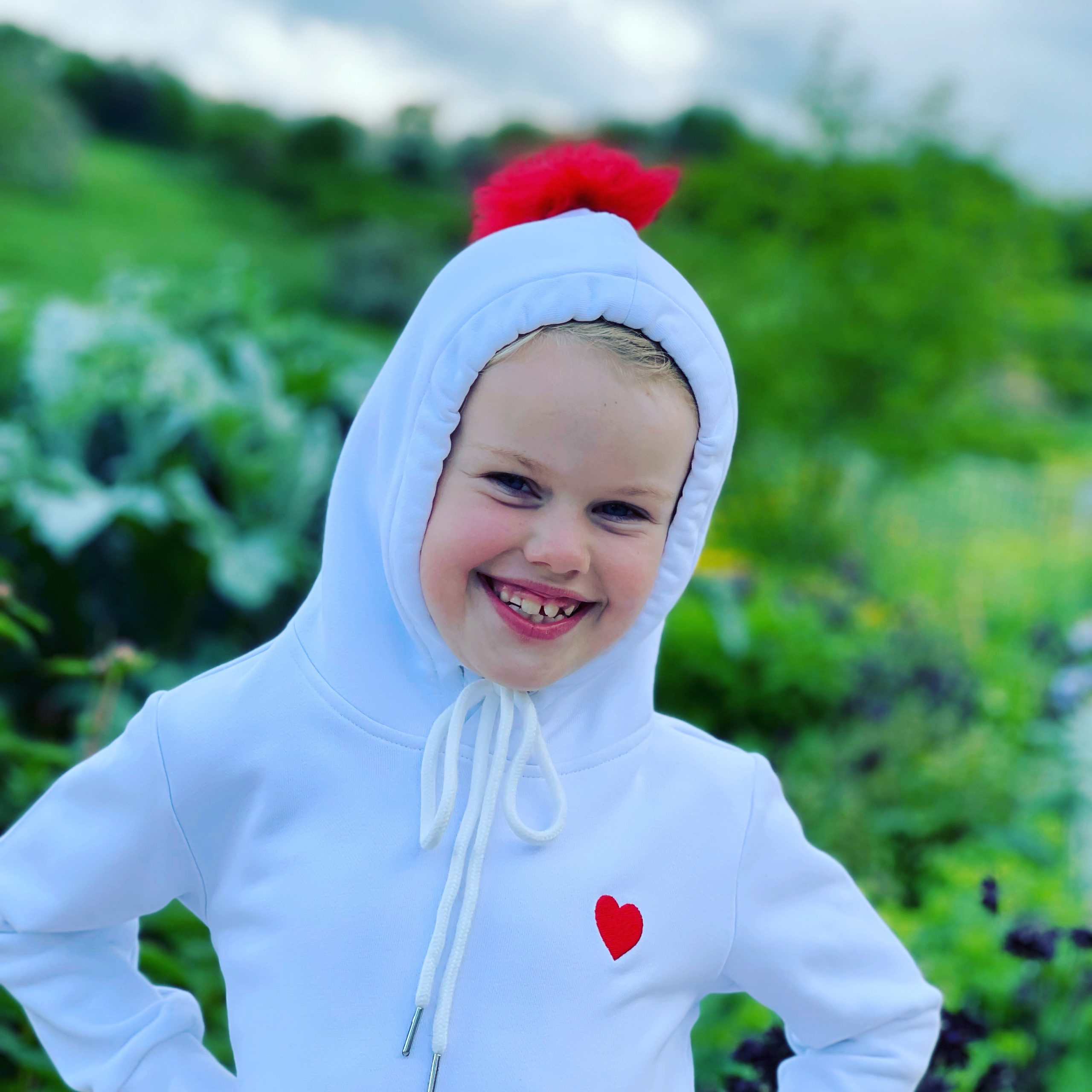White Cotton Hoodie with Red Heart