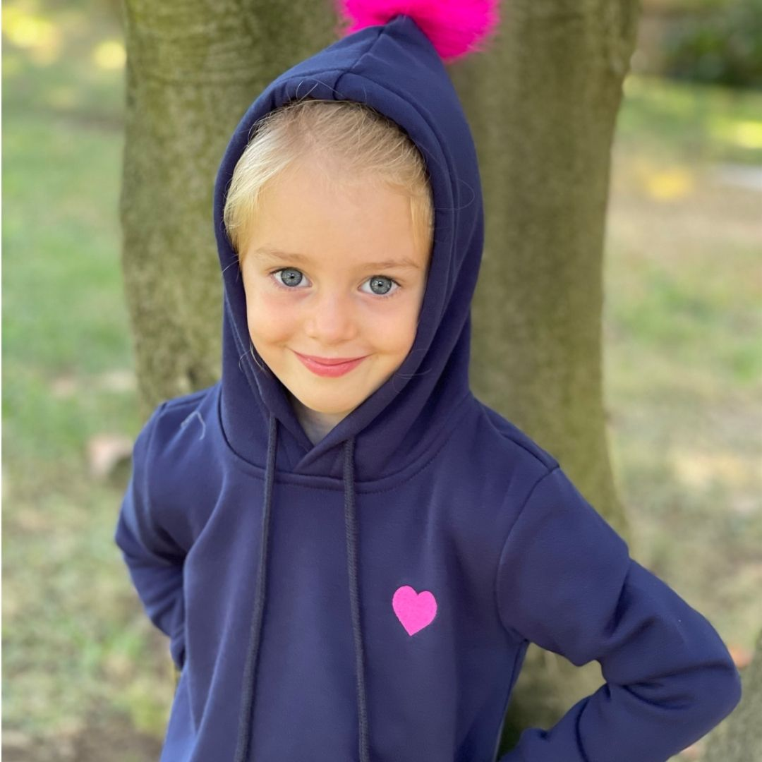Navy Hoodie with Hot Pink Heart and Faux Fur Bobble