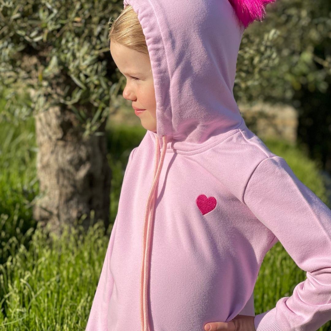 Pink Cotton Hoodie with Red Heart