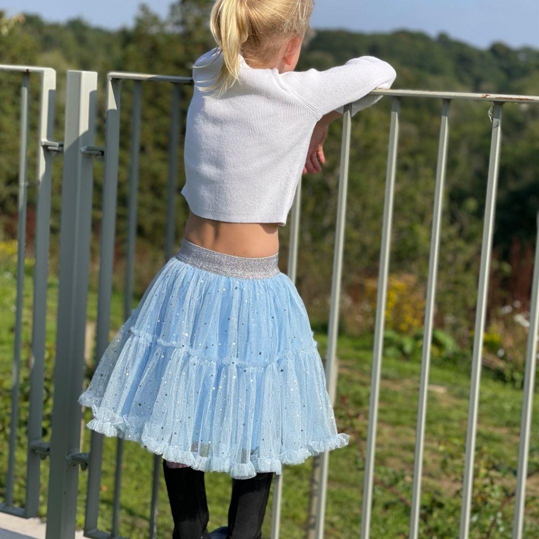 Skirt – Ballerina – Pale Blue with Stars & Moons