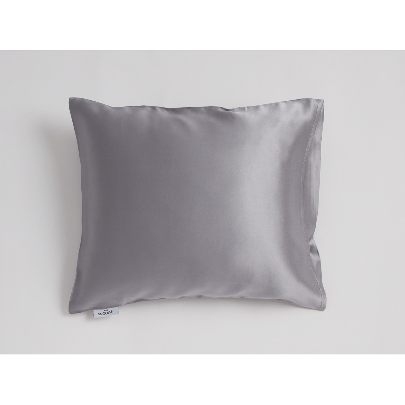 Mini Snoooze grey silk pillowcase