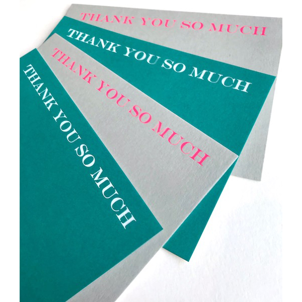 Luxury neon foiled THANK YOU SO MUCH cards