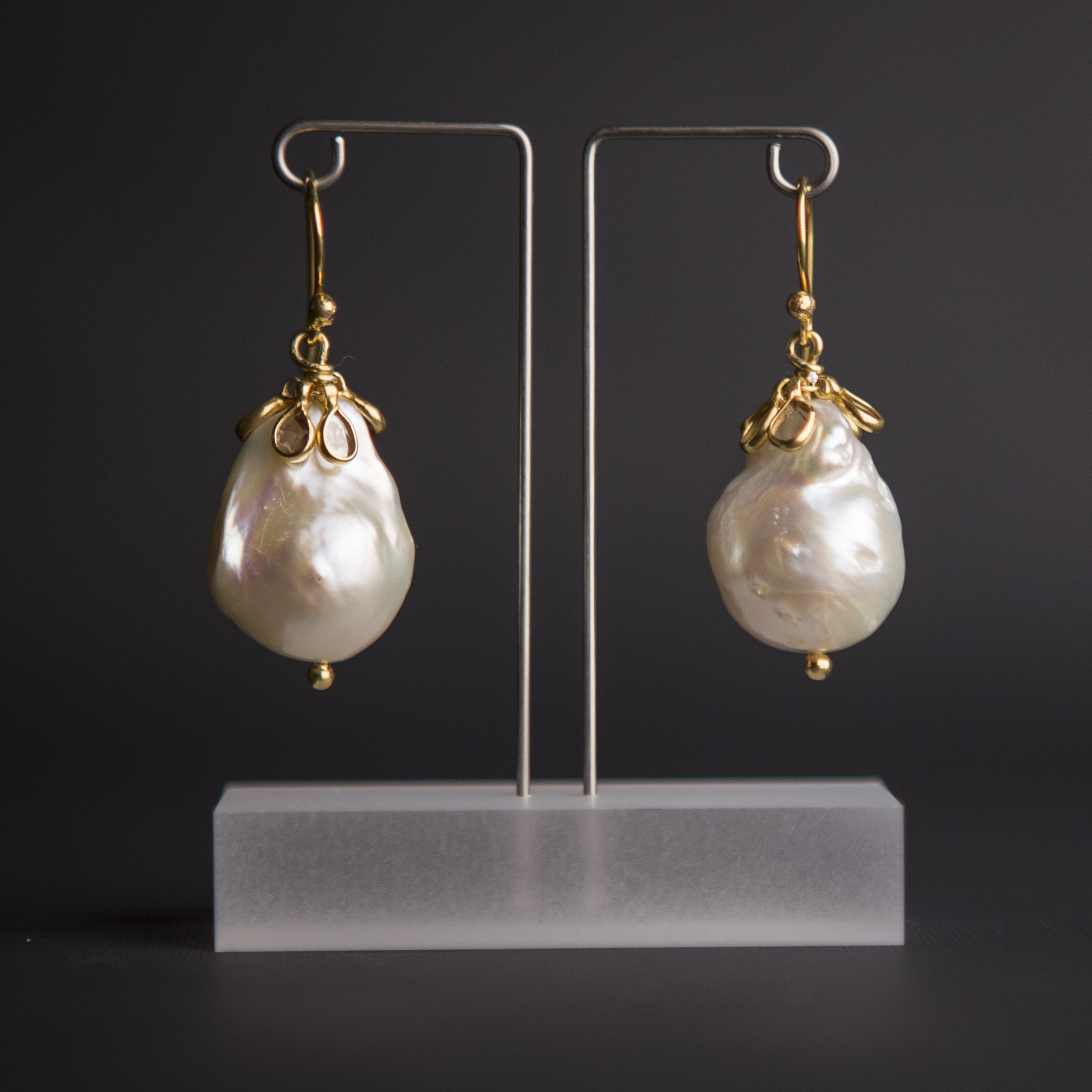 Giant Pearl and Diamond Cluster Earrings