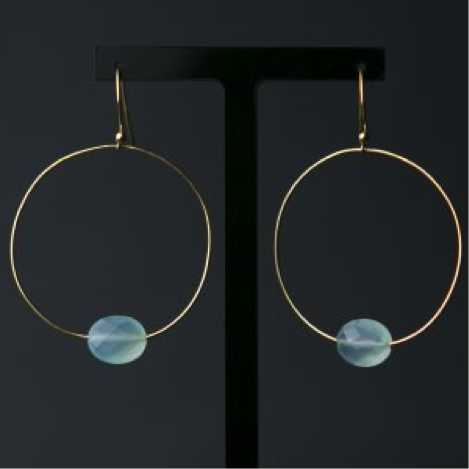 Aqua Chalcedony Hoop Earrings (gold vermeil)