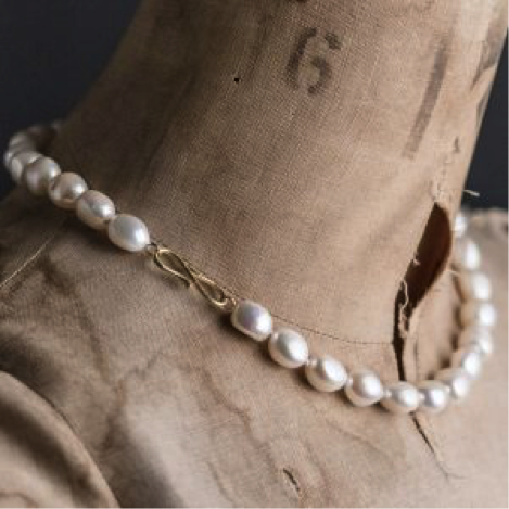 Baroque Pearl Necklace, gold vermeil clasp