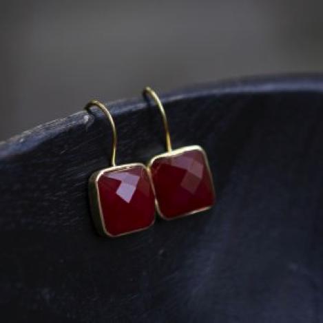Carnelian and Gold Vermeil Drop Earrings