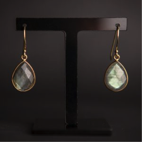 Labradorite Teardrop Earrings (gold vermeil)