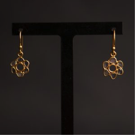 Diamond Gold Vermeil Flower Earrings
