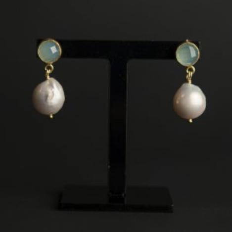 Aqua Chalcedony and Pearl Drop Earrings