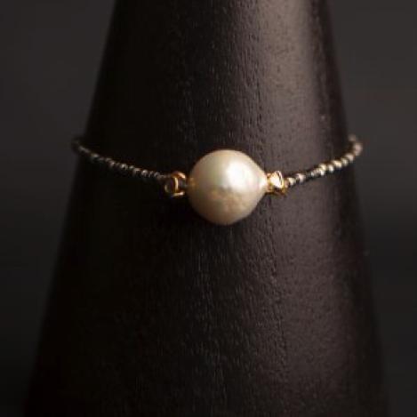 Pearl and Raw Diamond Oxidised Silver Bracelet