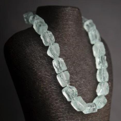Aqua Glass Rough Nugget Necklace