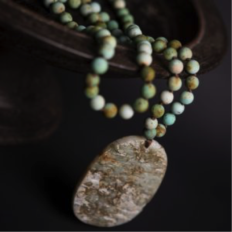 Vintage Jade Pendant on Matt Chrysoprase