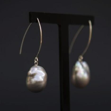 Giant Baroque Grey Pearl Earrings