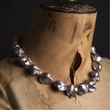 Giant Baroque Natural Grey Pearl Necklace