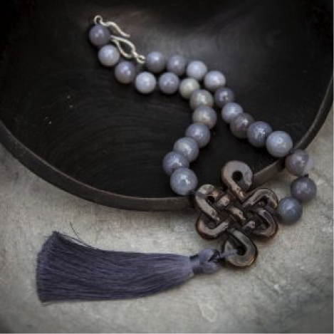 Grey Agate and Jade Tibetan Love Knot Necklace