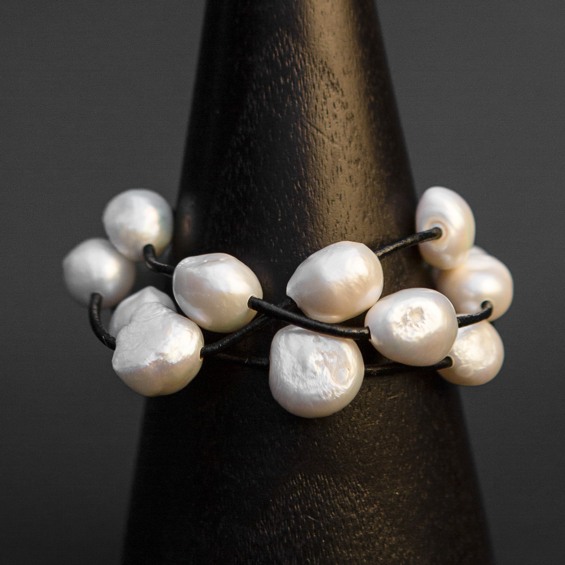 3 Strand Pearl and Black Leather Bracelet