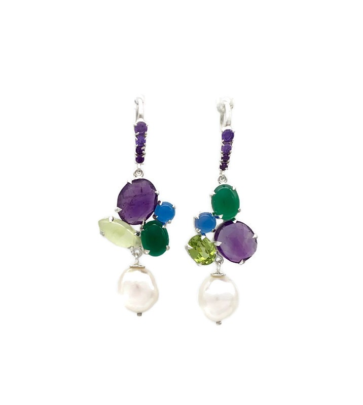 PhyonaHook Earrings – Amethyst, Prehnite, Blue Agate, Green Agate, Cubic Zirconia and Pearl
