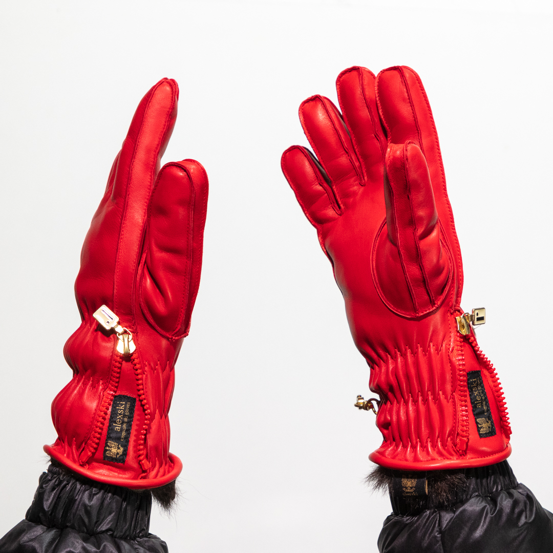 Ladies Red Leather Ski Glove