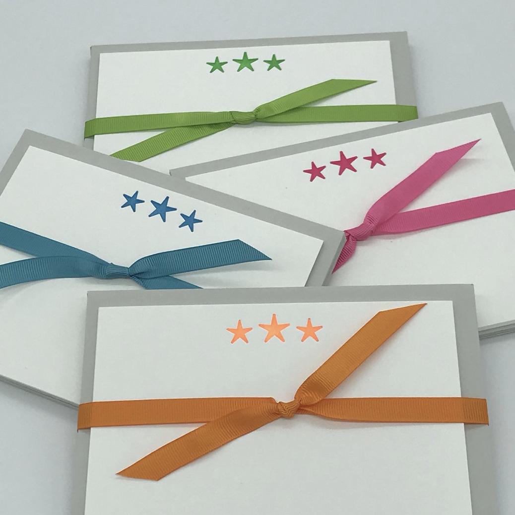 Neon Stars Notecards
