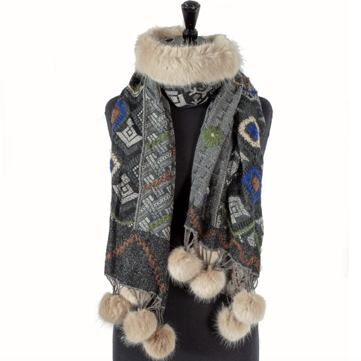Scarf with faux Fur Collar and PomPoms