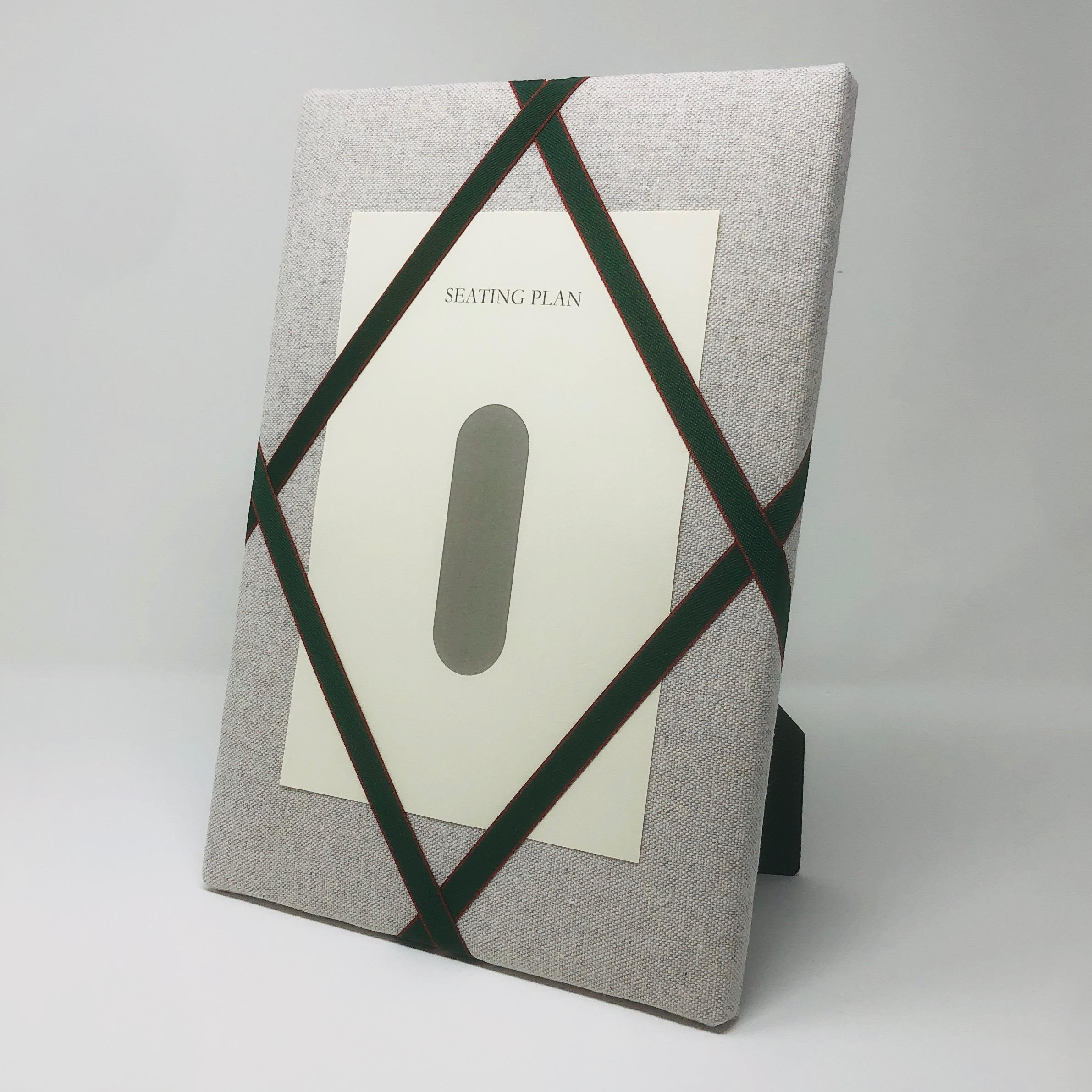 Seating Plan – Soft Grey / Dark Green Red Trim Ribbon
