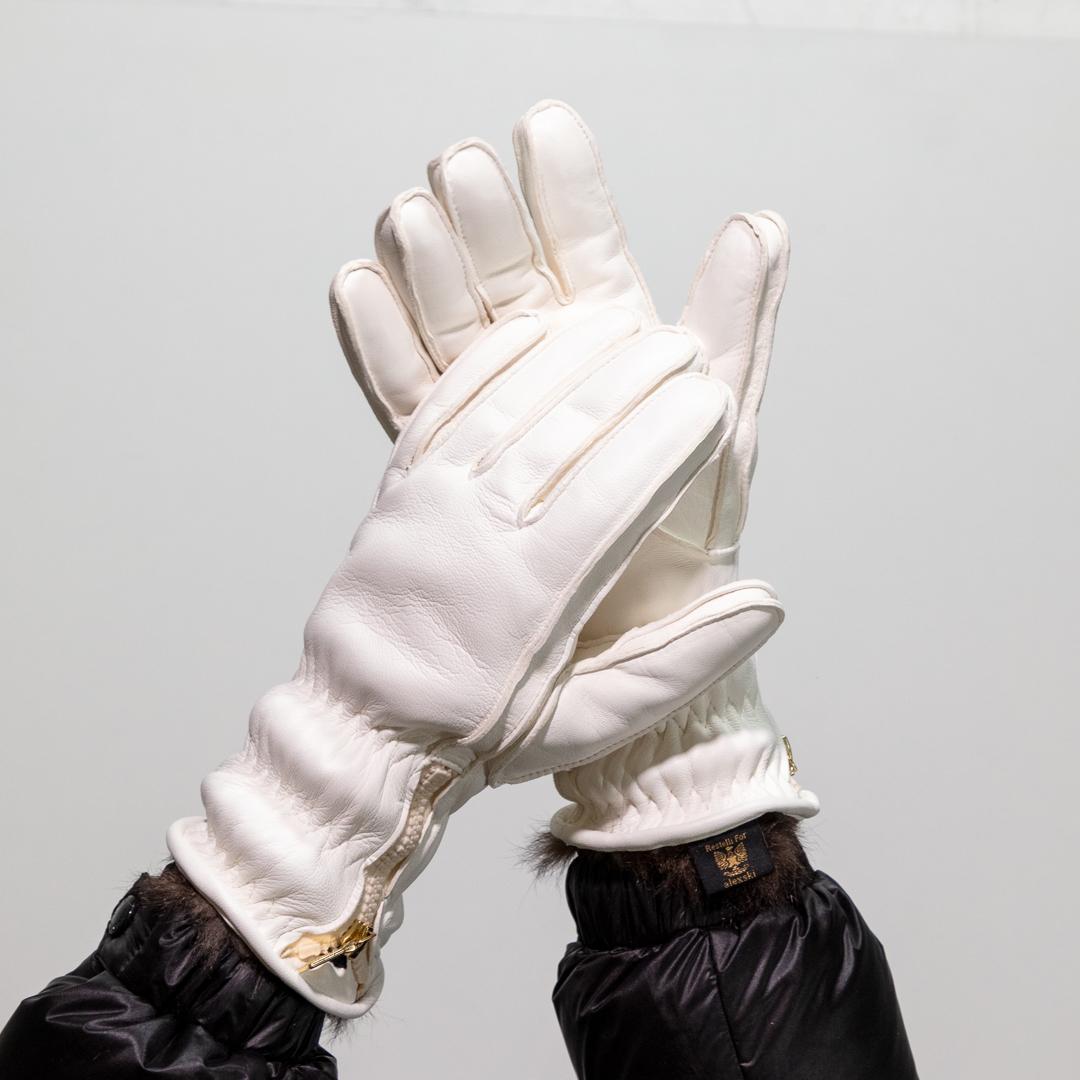 Ladies White Leather Ski Glove