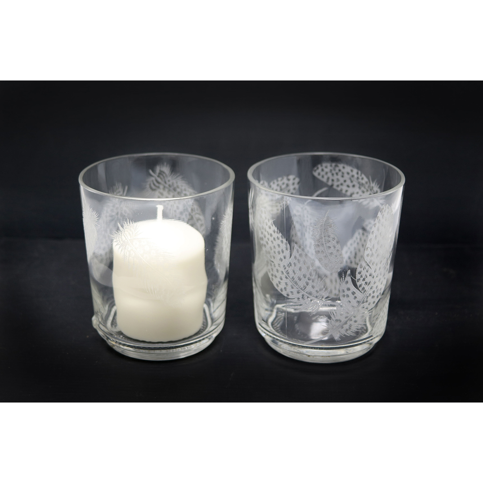 Hand Engraved Short Candle Holders Guineafowl Feather design