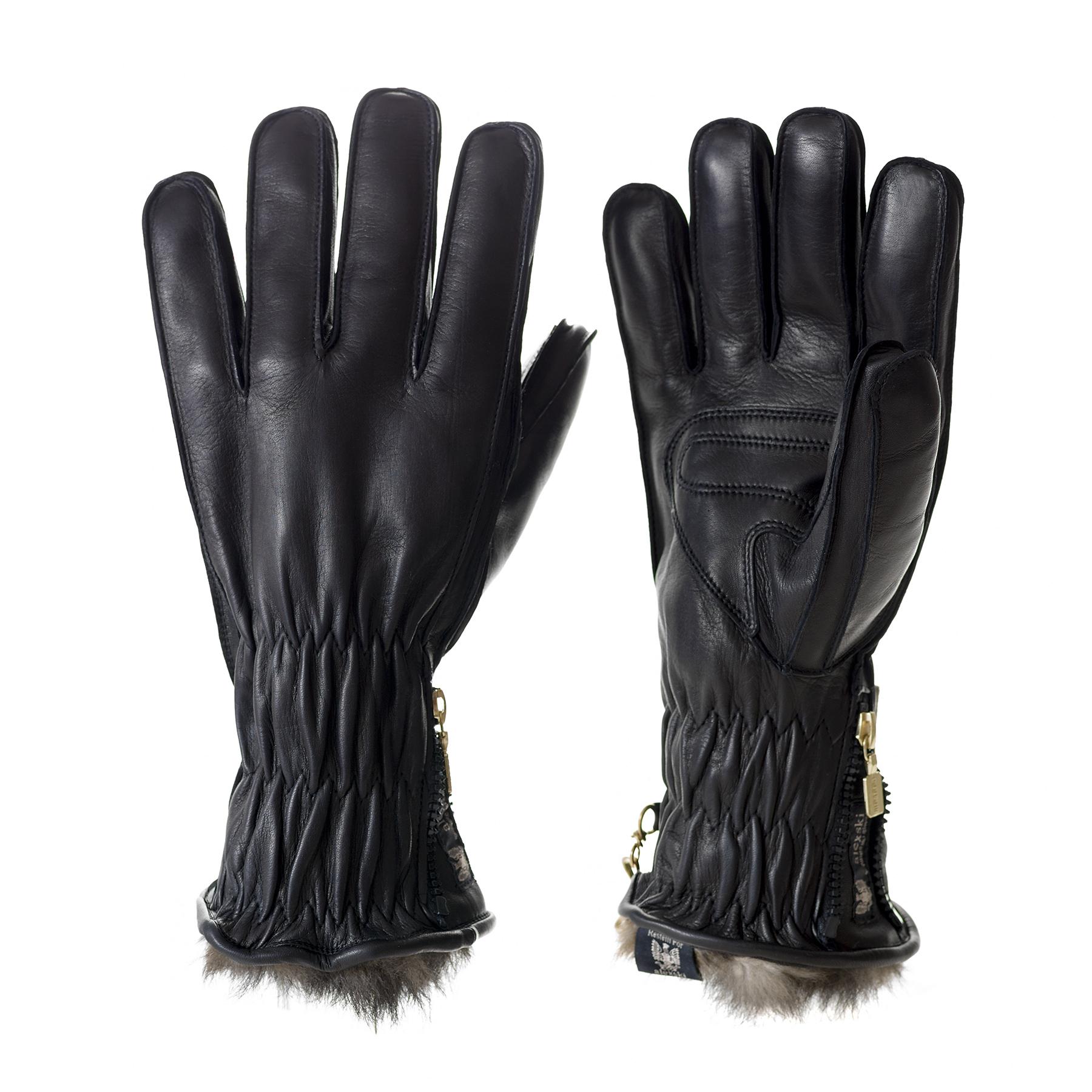 Men's Black Leather Ski Glove