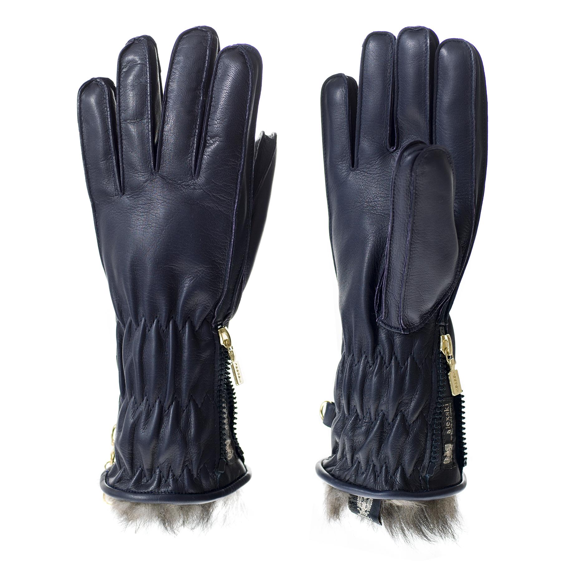 Ladies Navy Leather Ski Glove